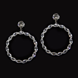 Silver Tone Swarovski Crystal Hoop Earrings