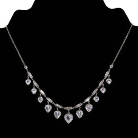 Silver Tone Baguette Swarovski Crystal Heart Drop Necklace 16  Adj.