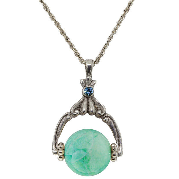 "Pewter Genuine Stone Spinner Necklace 28"" Turquoise"