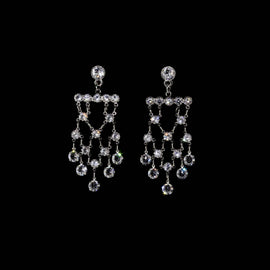 Silver Tone Swarovski Crystal Drop Earrings