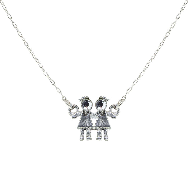 Pewter With Crystal 2 Girls Holding Hands Necklace 16 Inch