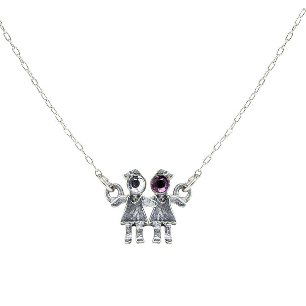 Pewter With Crystal 2 Girls Holding Hands Necklace Purple