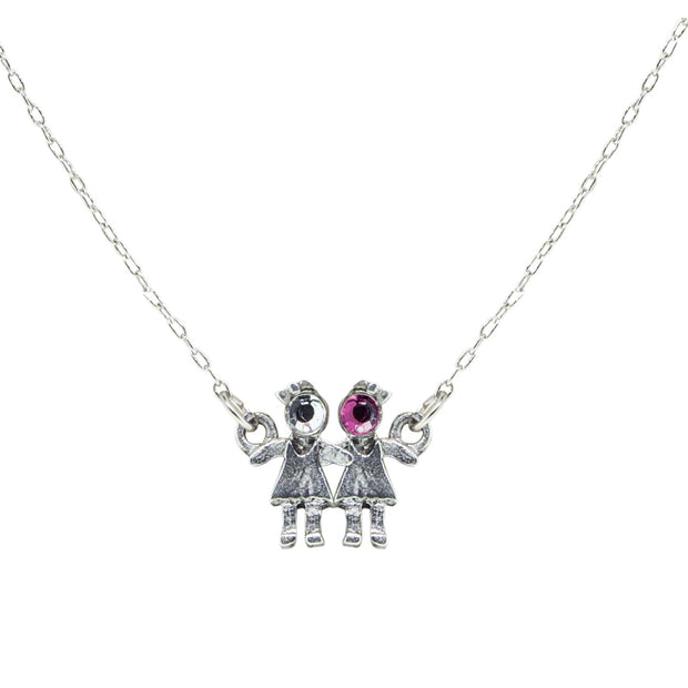 Pewter With Crystal 2 Girls Holding Hands Necklace Pink