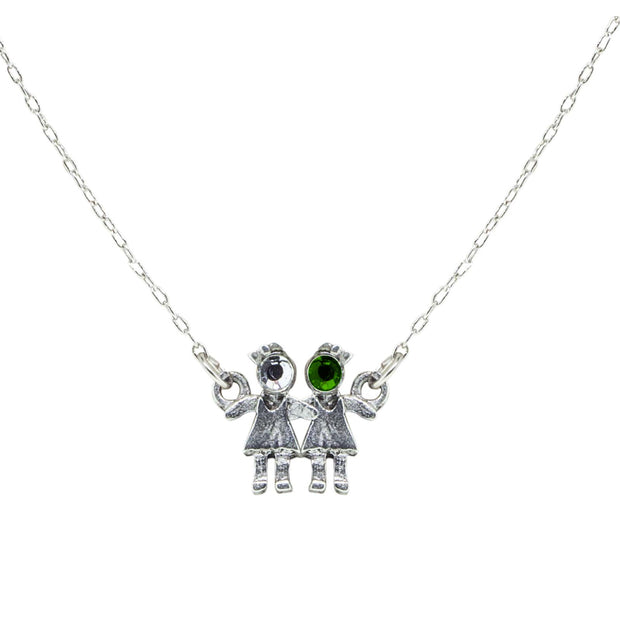 Pewter With Crystal 2 Girls Holding Hands Necklace Green