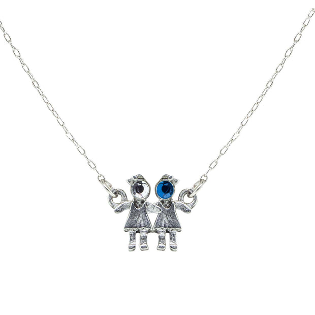 Pewter With Crystal 2 Girls Holding Hands Necklace Blue