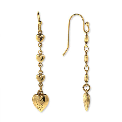 Gold Tone Linear Heart Drop Earring