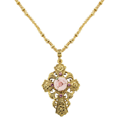 Gold Tone Cross Porcelain Rose Cross Necklace 18 In