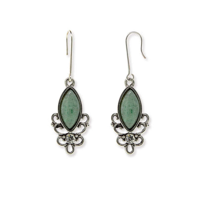 GREEN ADVENTURINE Sterling Silver Wire Genuine Stone Color Aventurine Earrings
