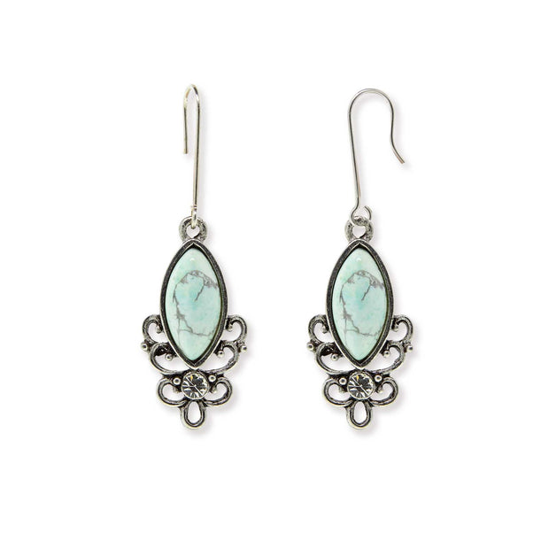 Sterling Silver Wire Genuine Stone Earrings Malachite