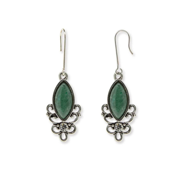 GREEN INDIAN ADVENTU Sterling Silver Wire Genuine Stone Color Aventurine Earrings