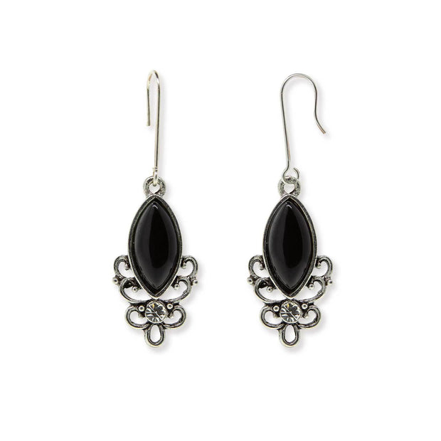 BLACK ONYX Sterling Silver Wire Genuine Stone Color Aventurine Earrings