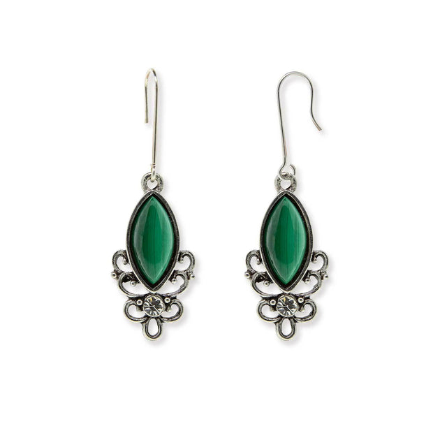 GREEN MALACHITE Sterling Silver Wire Genuine Stone Color Aventurine Earrings
