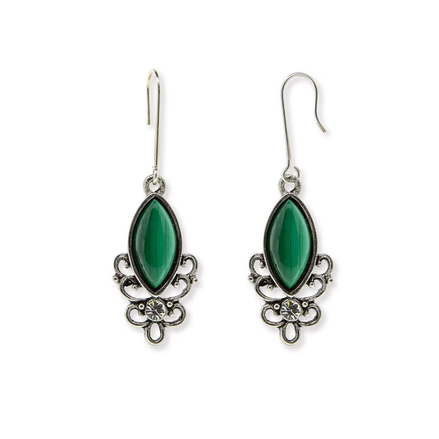 Sterling Silver Wire Genuine Stone Earrings