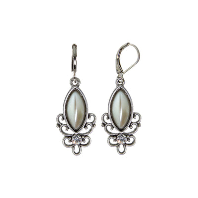 White Pewter White Filigree Drop Earring