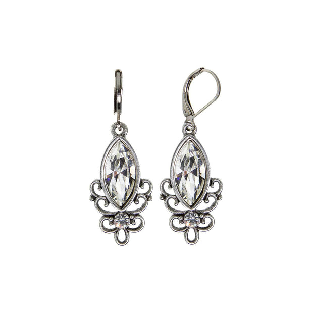 Crystal Pewter Filigree Drop Earring