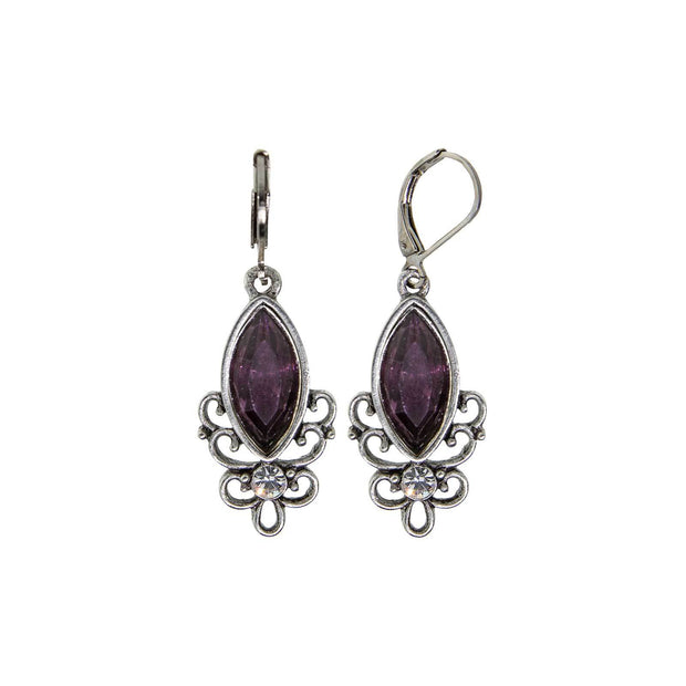 Purple Pewter Filigree Drop Earring