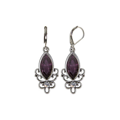 Pewter Purple Filigree Drop Earring