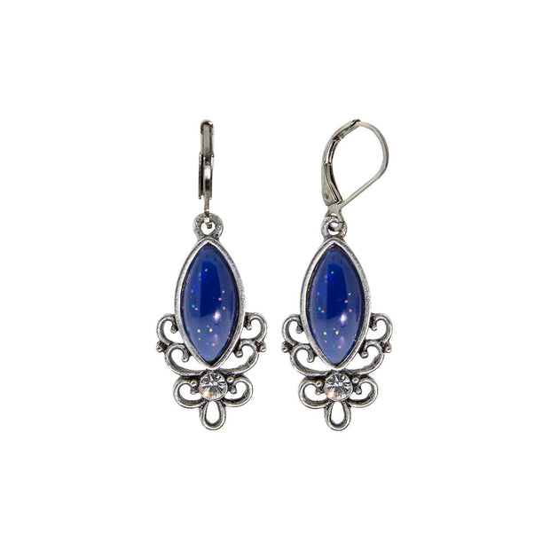 Blue Pewter Filigree Drop Earring
