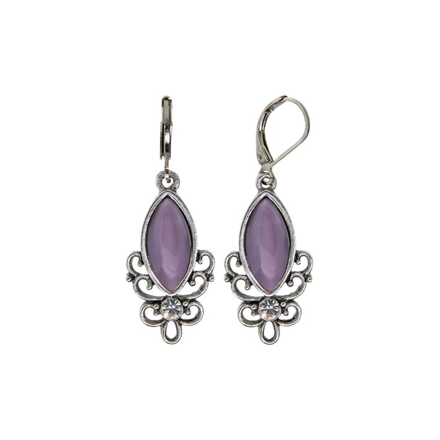 Light Purple Pewter Filigree Drop Earring