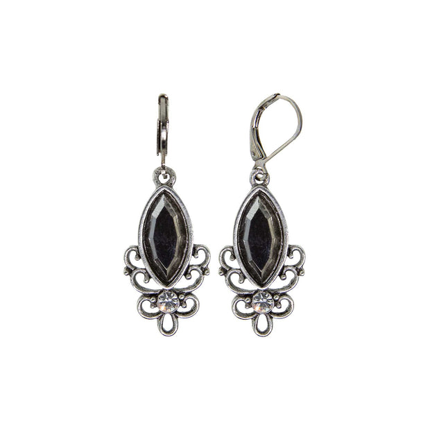 1928 Jewelry Pewter Filigree Drop Earring