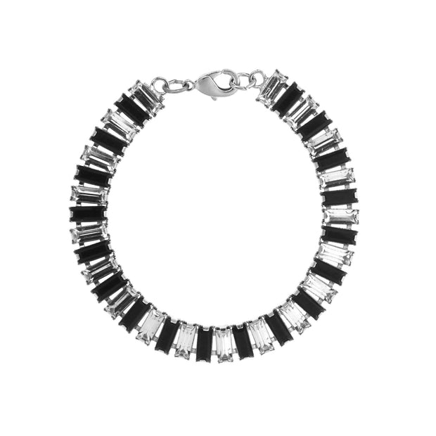 Silver Tone Crystal & Black Stone Chain Link Bracelet