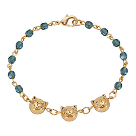 14k Gold Dipped Cat Faces on Blue Beaded Chain Bracelet
