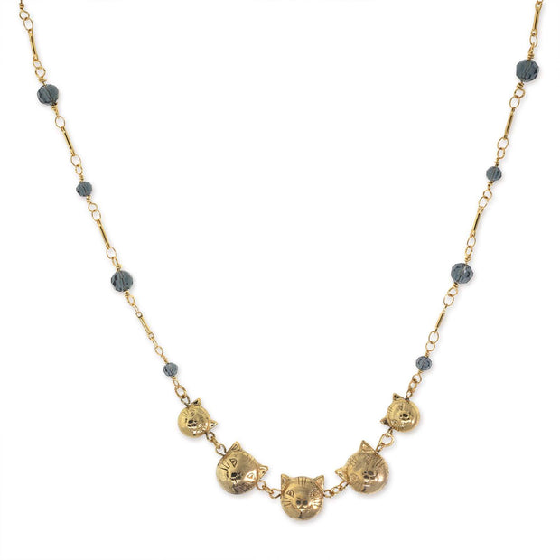 14K Gold Dipped Cat Faces With Blue Beaded Chain Necklace 16 - 19 Inch Adjustable