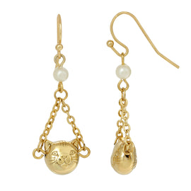 14k Gold Dipped Cat Face With Faux Pearl & Chain Drop Wire Earrings