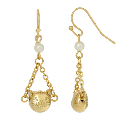 14k Gold Dipped Cat Face With Costume Pearl & Chain Drop Wire Earrings