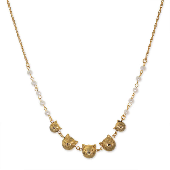 14k Gold DippedMulti Cat Face with Pearl Chain Necklace 16