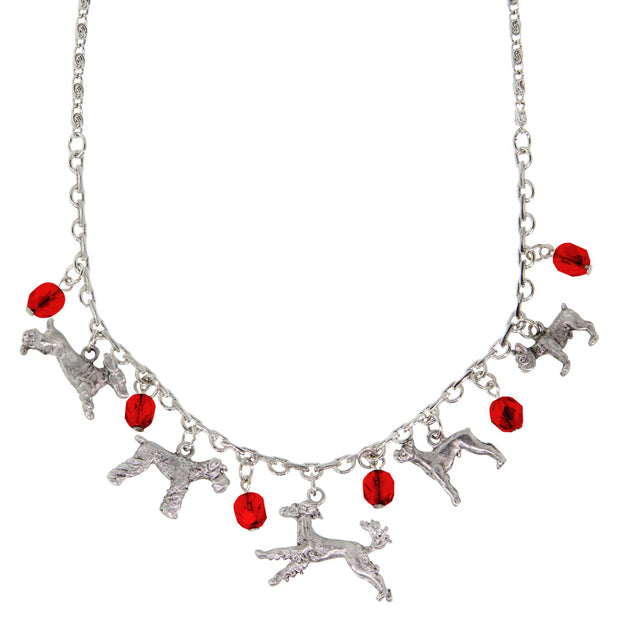 Pewter Crystal Beaded Multi Dog Drop Necklace 16 Adj. Red