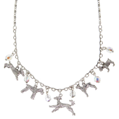 Silver Tone Clear Crystal Beaded Multi Dog Drop Necklace 16 - 19 Inch Adjustable