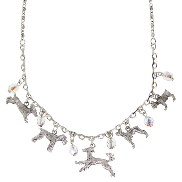 Silver Tone Clear Crystal Beaded Multi Dog Drop Necklace 16   19 Inch Adjustable