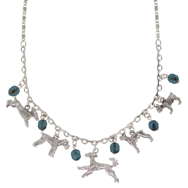 Pewter Crystal Beaded Multi Dog Drop Necklace 16 Adj. Blue