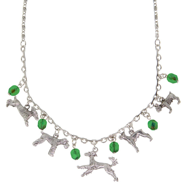 Pewter Crystal Beaded Multi Dog Drop Necklace 16 Adj. Green