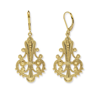 Gold Tone Filigree Euro Wire Drop Earring
