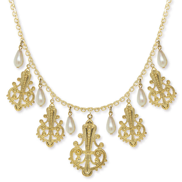 Gold Tone Filigree Drop With Costume Pearl Drop Necklace 16 - 19 Inch Adjustable