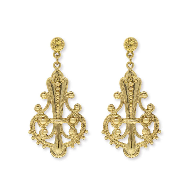 Gold Tone Large Filigree Drop Post Earrings