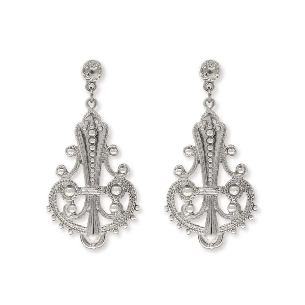 1928 Jewelry Large Filigree Drop Post Earrings