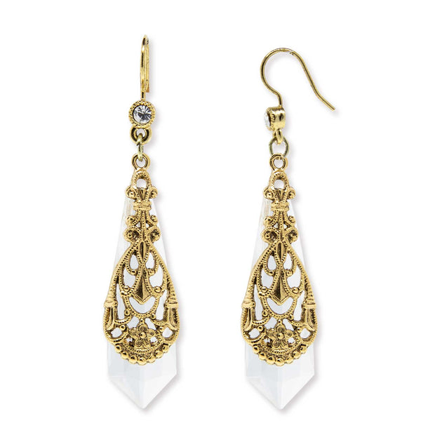 Gold Tone Filigree Over Clear Faceted Crystal Drop Earring
