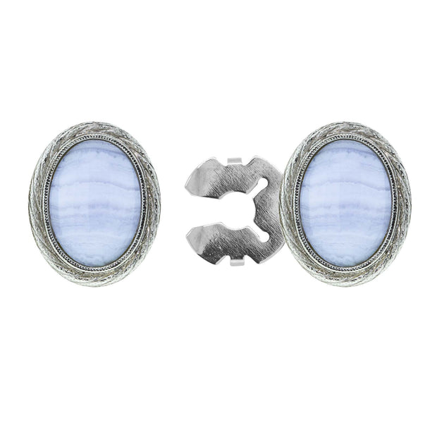Silver Tone Genuine Stone Oval Button Cover Blue Lace
