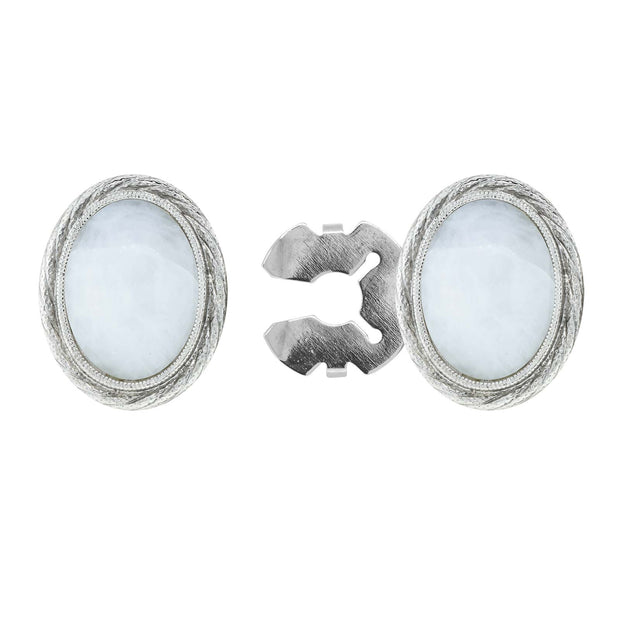 Silver Tone Genuine Stone Oval Button Cover
