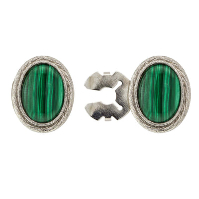 Silver Tone Genuine Stone Oval Button Cover Malachite