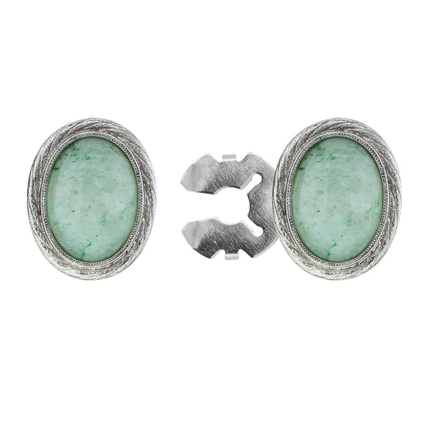 Silver Tone Genuine Stone Oval Button Cover Green Aventurine