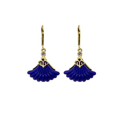 Gold Tone Blue Fan Stone Drop Euro Wire Earrings