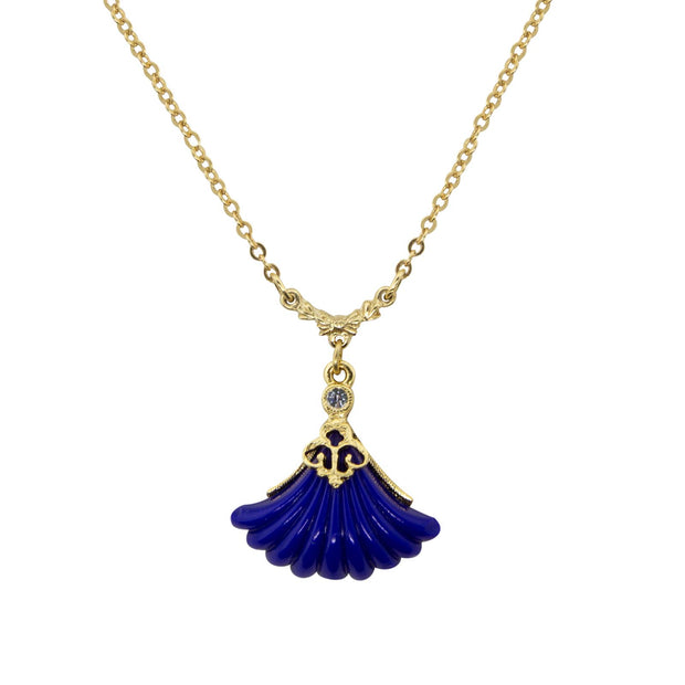 Gold Tone Blue Fan Drop Necklace 16   19 Inch Adjustable