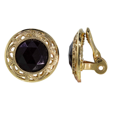 1928 Jewelry Gold Tone Round Black Faceted Stone Clip Earrings