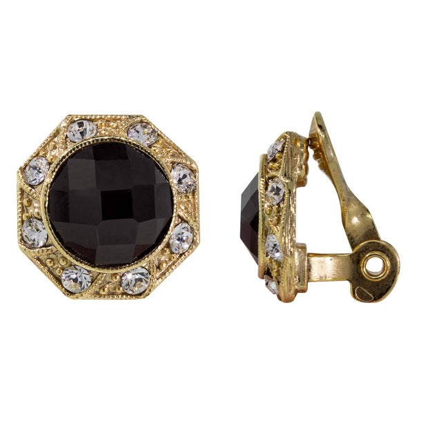 Gold Tone Crystal Round Button Clip Earring