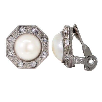 Silver Tone Costume Pearl Crystal Round Button Clip On Earrings