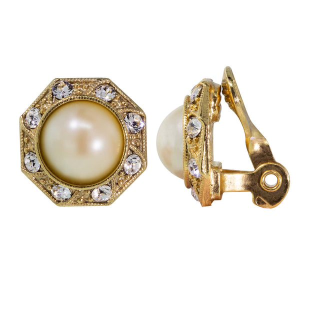 Gold Tone Costume Pearl Crystal Round Button Clip On Earrings
